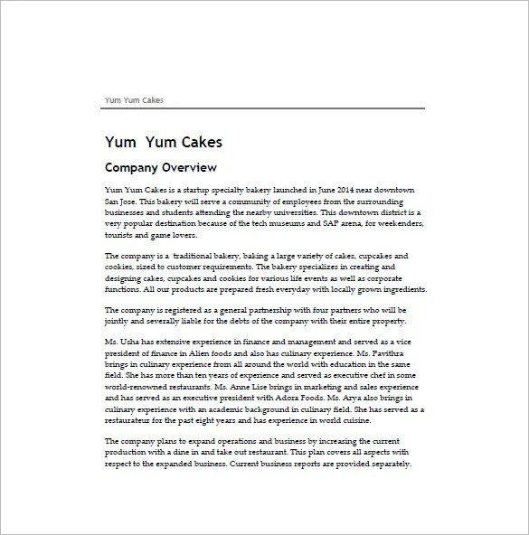 Bakery Business Plan Template 14 Free Sample Example Format