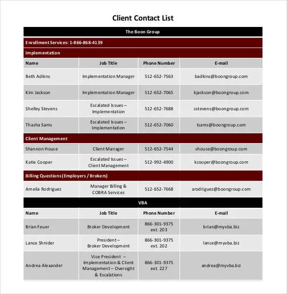 client contact list template