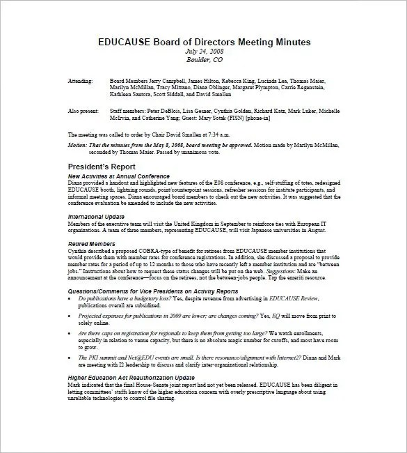Letter To Board Of Directors Template
