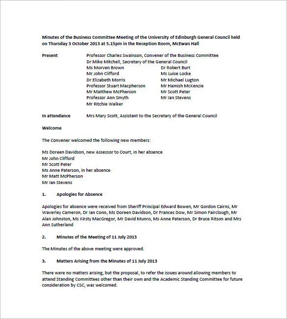 Committee Meeting Minutes Templates – 11+ Free Sample, Example ...