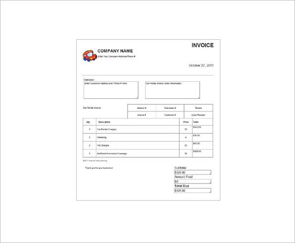car bill format