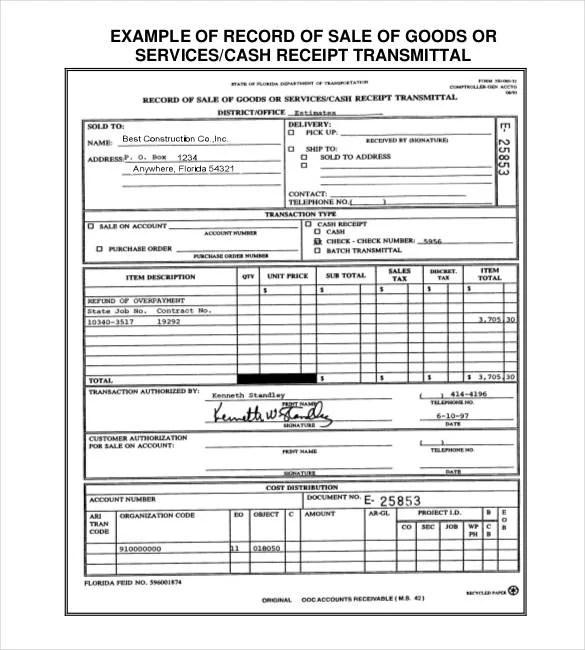29 Sales Receipt Templates DOC Excel PDF Free