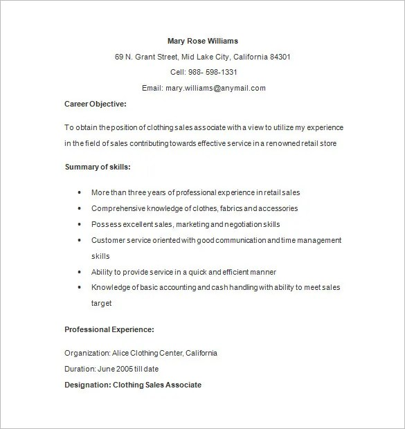 Retail Resume Objective Clothing Retail Associate Resume Format