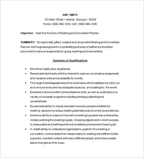 10 Event Planner Resume Templates DOC PDF Free