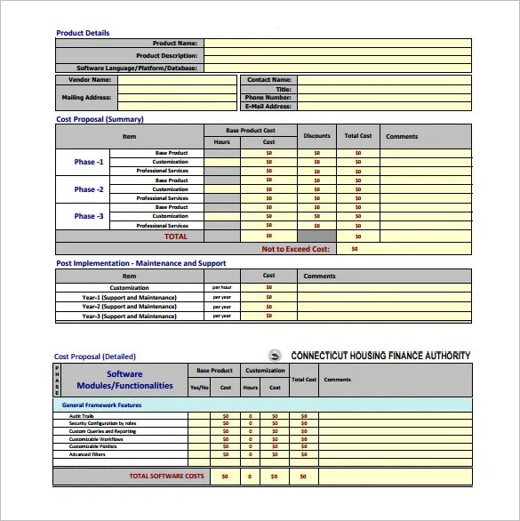 Cost Proposal Template - 15+ Free Word Excel PDF Format ...