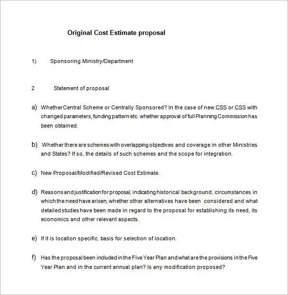 Cost Proposal Template 18 Free Word PDF Format
