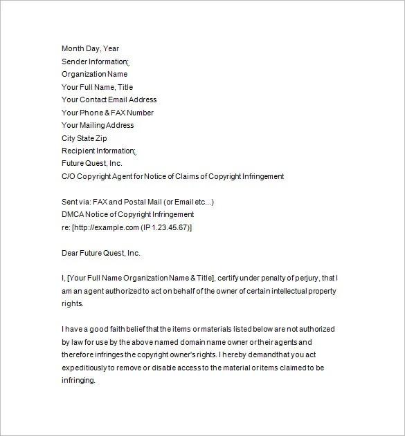 12 DMCA Notice Templates DOC Free & Premium Templates