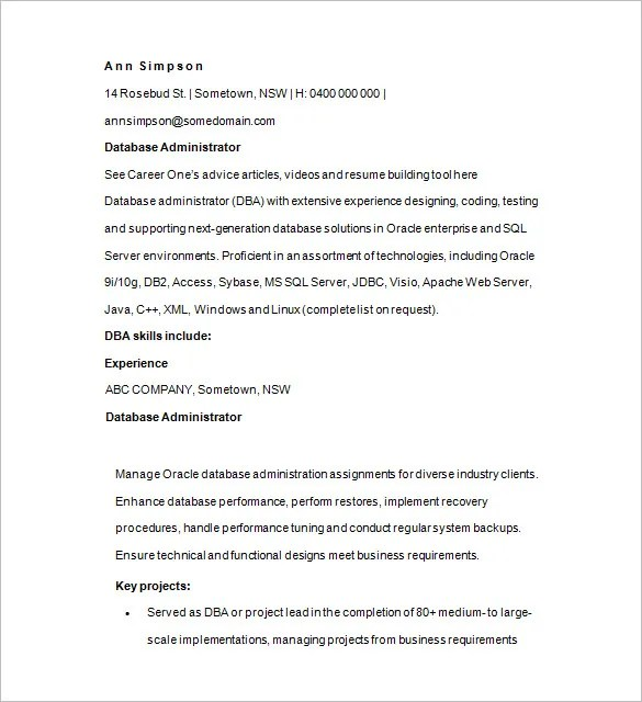 14+ Sample Database Administrator Resume Templates - DOC, PDF | Free ...