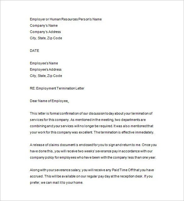 Employment Termination Letter Template | Docoments Ojazlink