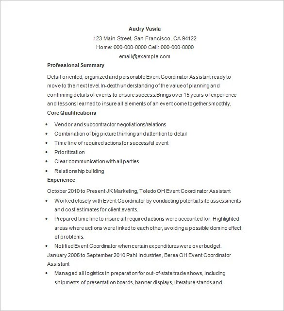 Event Planner Resume Template U2013 11 Free Samples Examples Format  Events Coordinator Resume