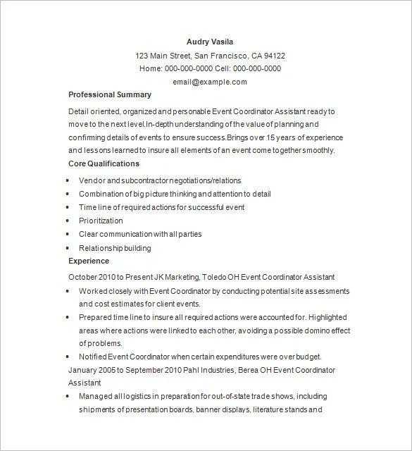 wedding planner resume samples