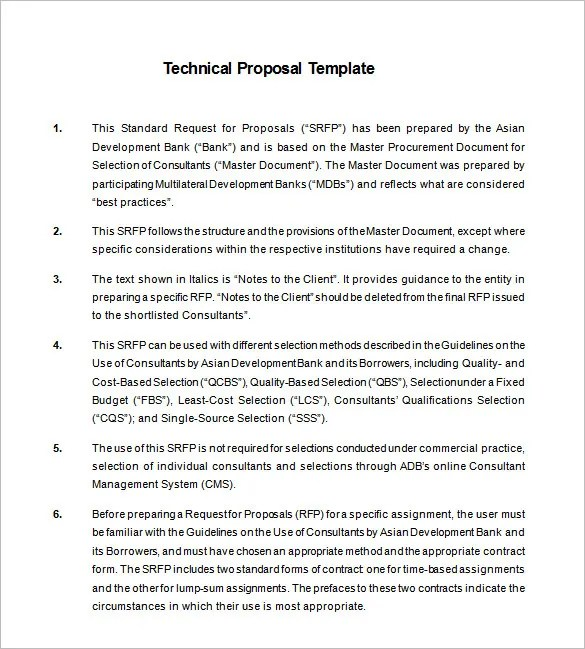 Technical Proposal Templates – 18 Free Word Excel PDF