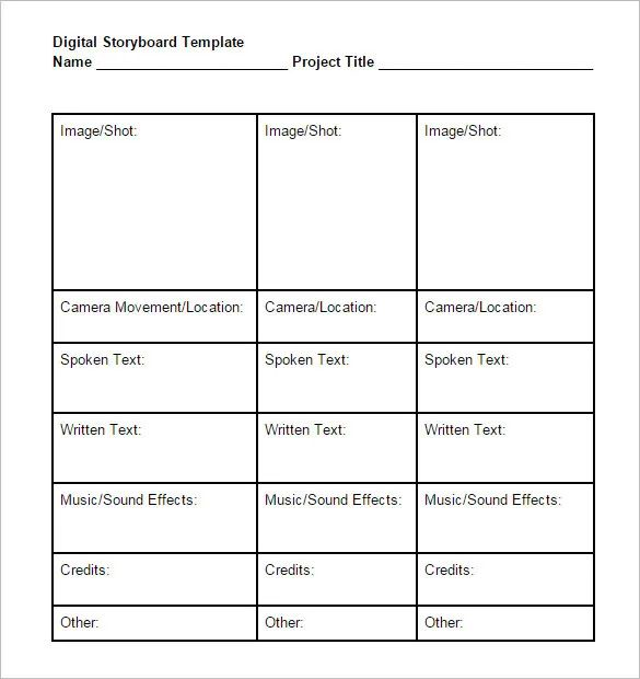 5 digital storyboard template