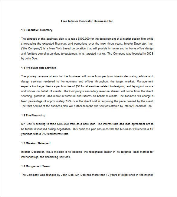 Interior Design Business Plan Template – 10 Free Word Excel PDF