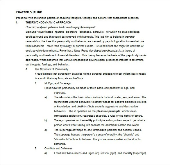 Chapter Outline Template 8 Free Word Excel PDF Format