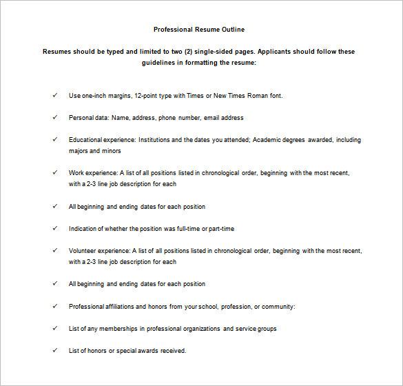 Sample Resume Outline  Bijeefopijburgnl