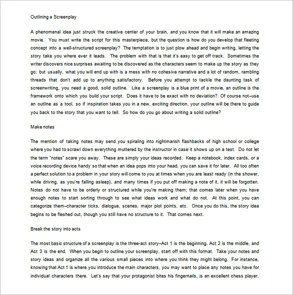 Screenplay Outline Template 6 Free Sample Example