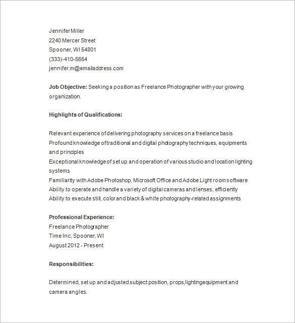 Photography Resume Freelance Photographer Resume Template