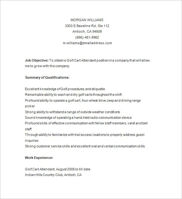 7 Golf Caddy Resume Templates DOC PDF Free & Premium
