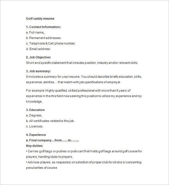 golf caddy resume sample