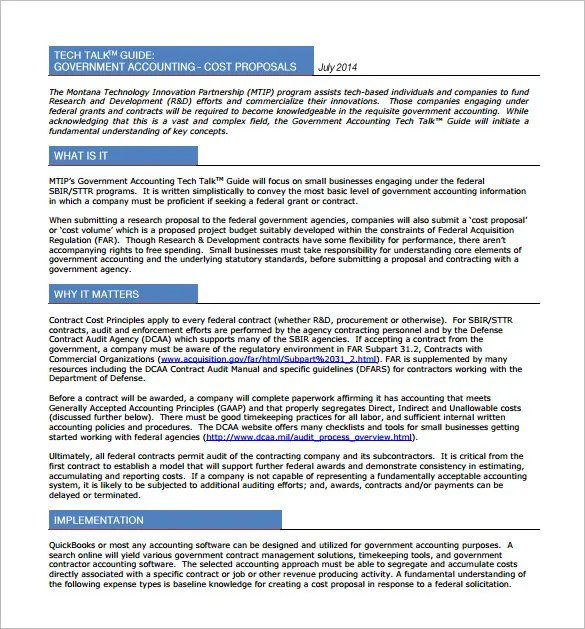 Cost Proposal Template 14 Free Word Excel PDF Format