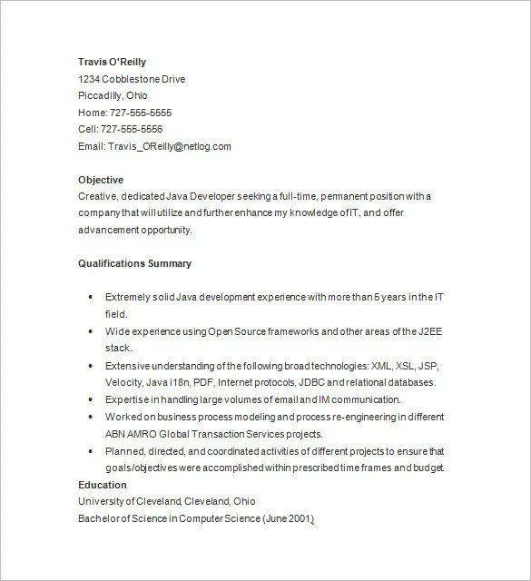 fresher resume sample java