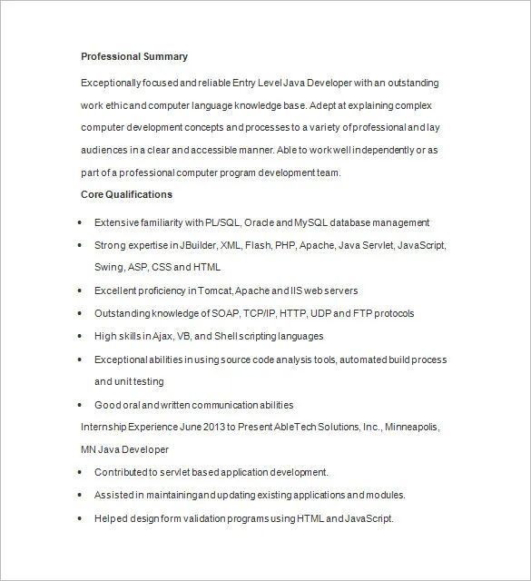 junior java developer resume