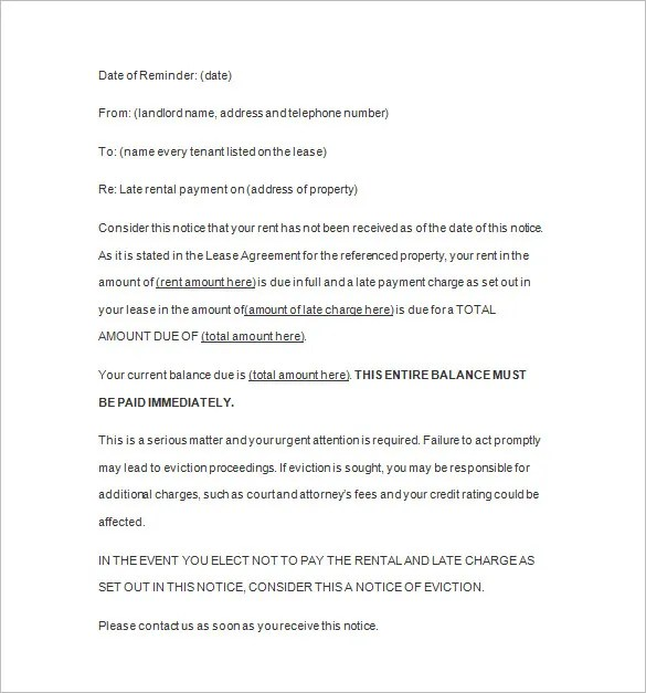 Late Rent Notice - 12+ Free Samples, Examples, Format Download ...
