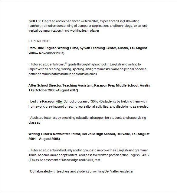 11 tutor resume templates