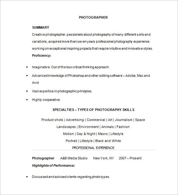 photographer assistant resume sample