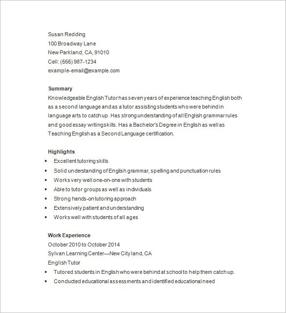 Resume CV Cover Letter Resume Samples In English Teacher 100