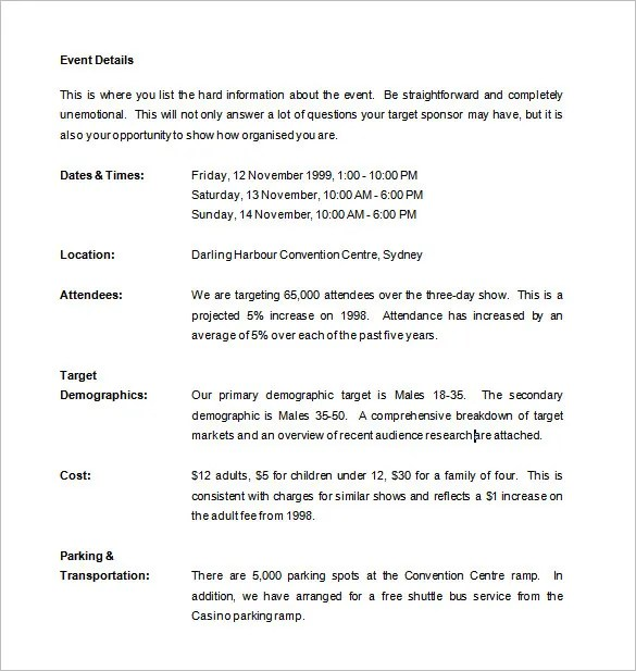 Sponsorship Proposal Template – 11 Free Word Excel PDF