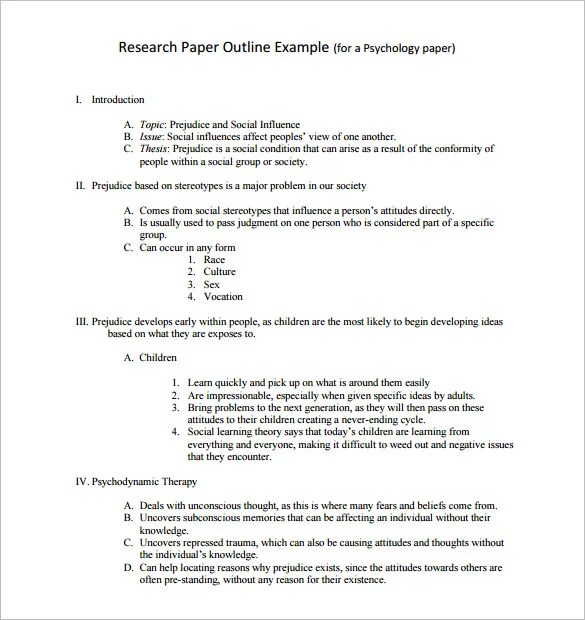 Research Outline Template – 10 Free Sample Example Format