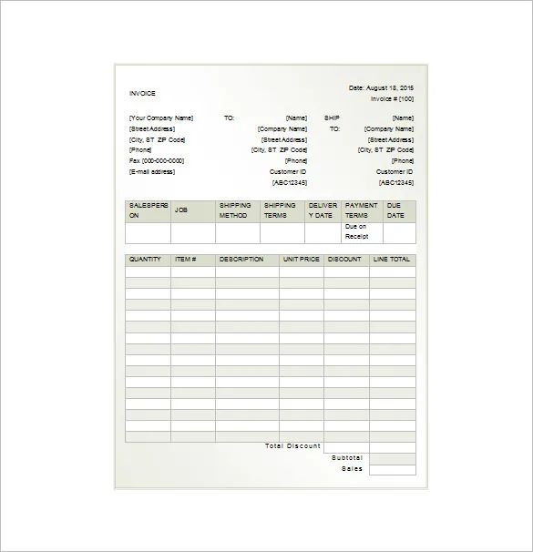 work invoice template free