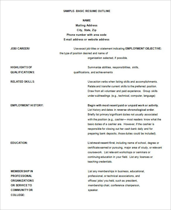 12 Resume Outline Templates  Samples  DOC PDF  Free