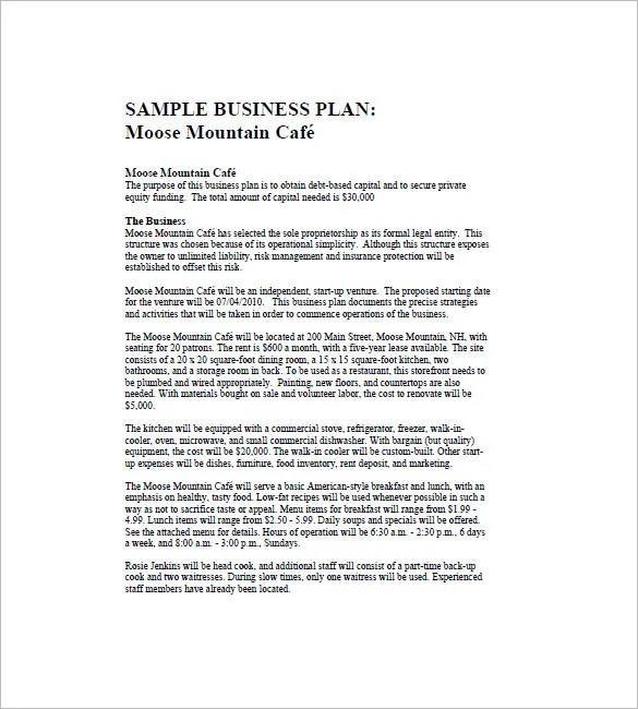 Cafe Business Plan Template – 14 Free Word Excel PDF