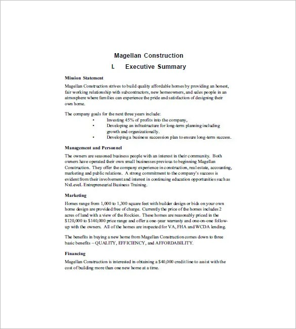 Construction Business Plan Template 12 Free Word Excel