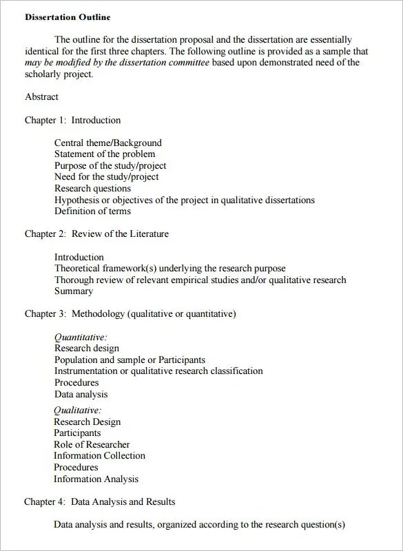 Dissertation Outline Template – 10 Free Sample Example Format