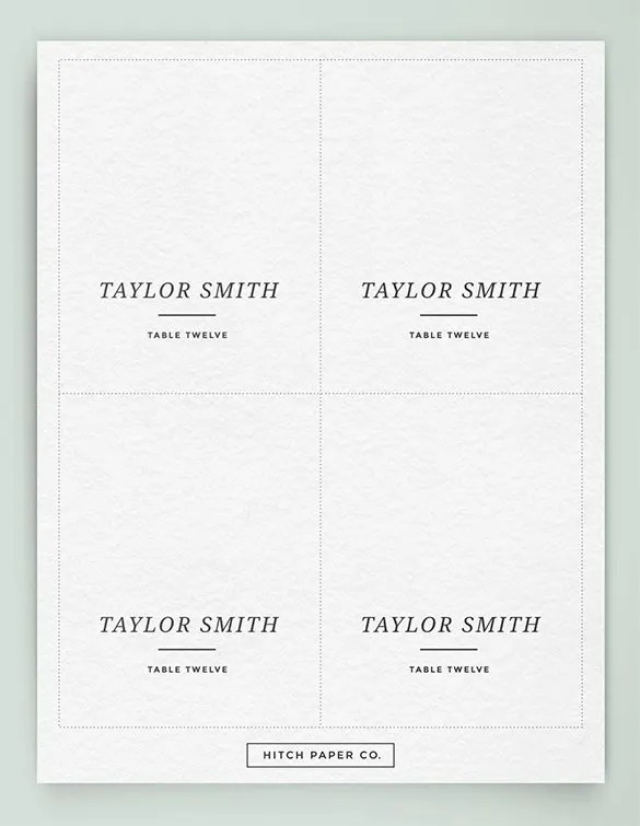 printable table place cards template. Black Bedroom Furniture Sets. Home Design Ideas