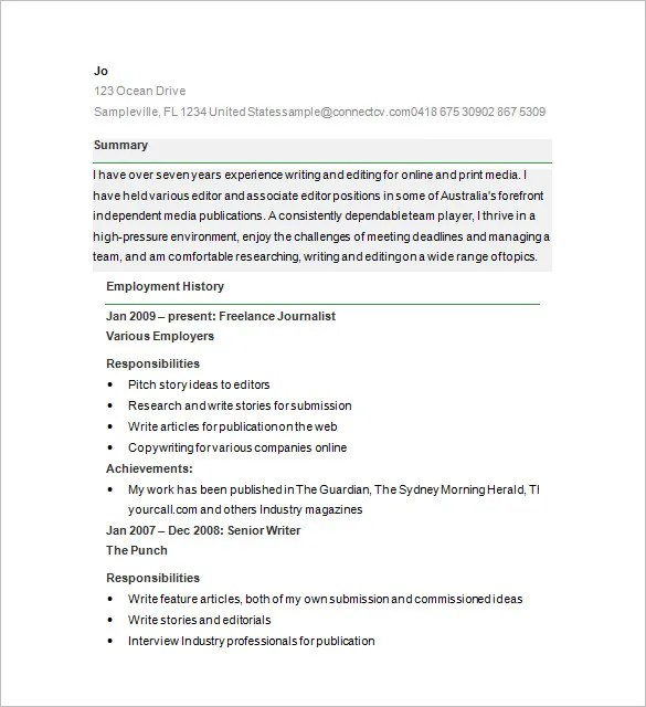 Resume Format For Content Writer Fresher | Cover Letter And ...