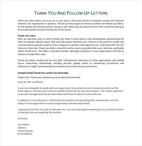 11+ Thank You Email After Teaching Interview - PDF, DOC | Free ...