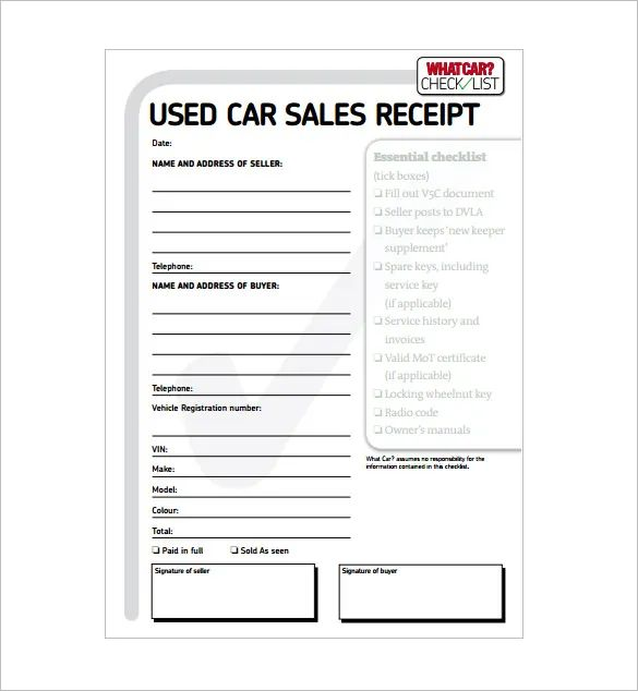 how to write a sales receipt for a car