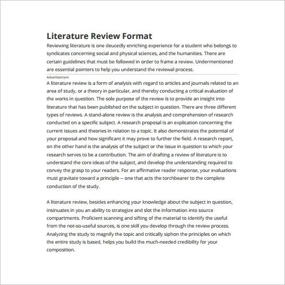 guidelines to write a good literature review