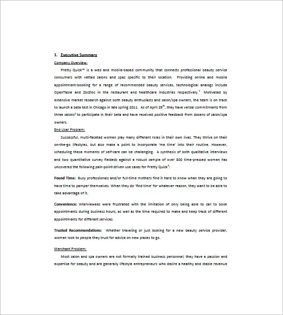 Spa salon business plan sample