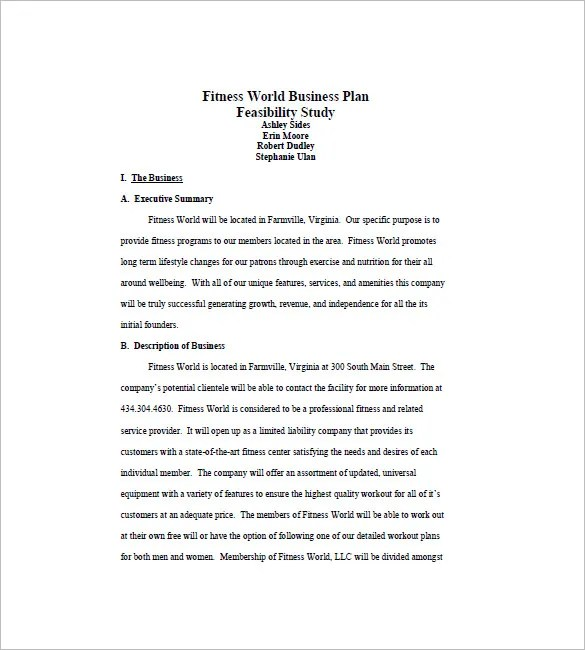 Gym Business Plan Template 13 Free Word Excel PDF