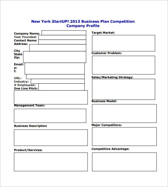 start up business plan templates