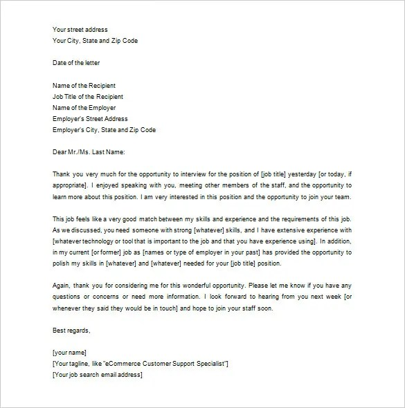 Thank You Letter To Recruiter – 10 Free Word Excel PDF