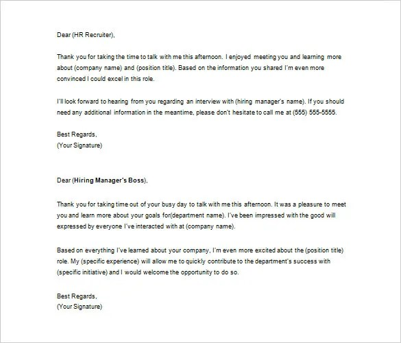 Thank You Letter to Recruiter  10 Free Word Excel PDF Format Download  Free  Premium