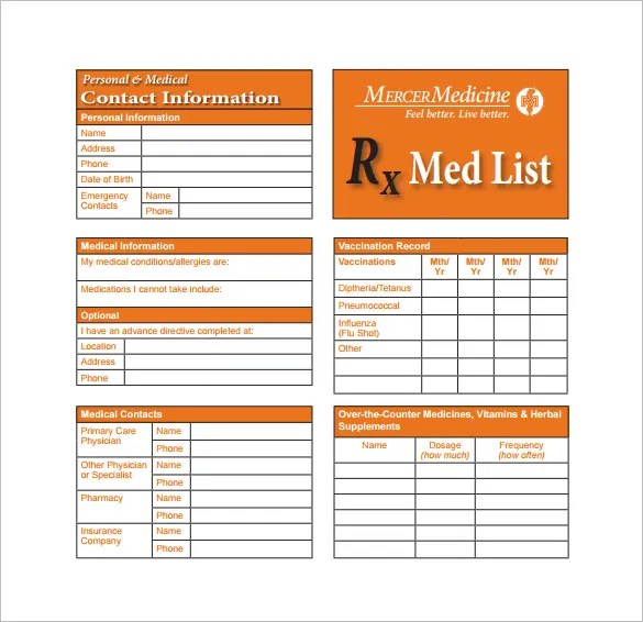 free printable medication list template free download champlain college publishing. Black Bedroom Furniture Sets. Home Design Ideas