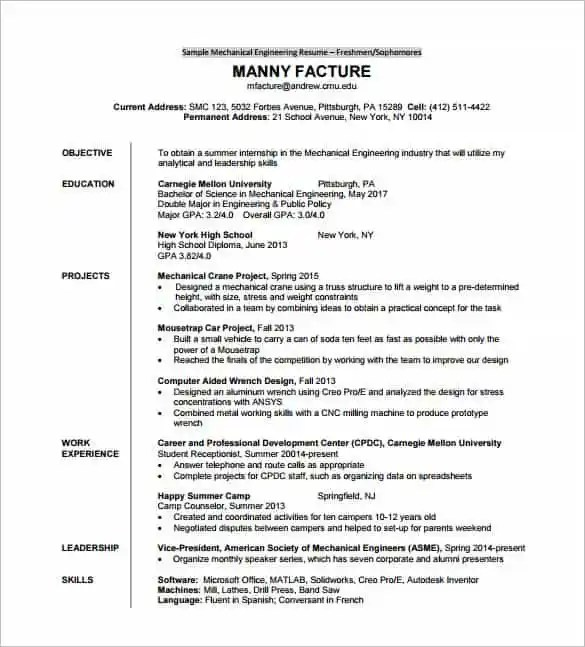 Resume Template For Fresher – 10 Free Word Excel PDF Format